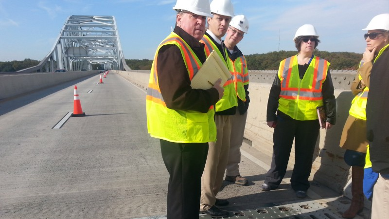 MDTA officials hosted advocates and engineers for a Hatem Bridge tour in October 2015.