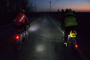 Randonneurs take visibility seriously. Reflective vests, ankle bands, and lights are required after dusk.